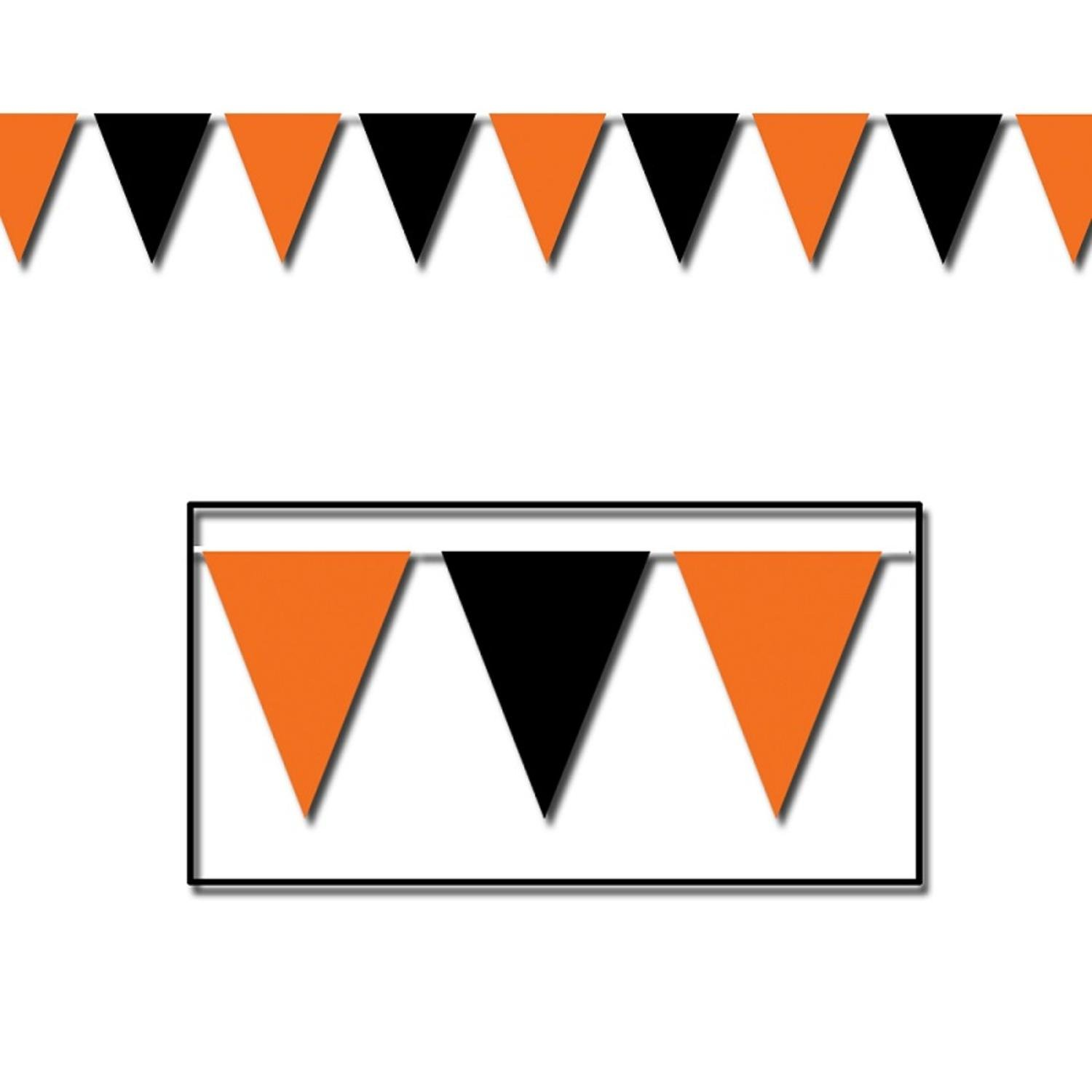 Club Pack of 12 Orange & Black Pennant Banner Halloween Party Decorations 30' x 17''