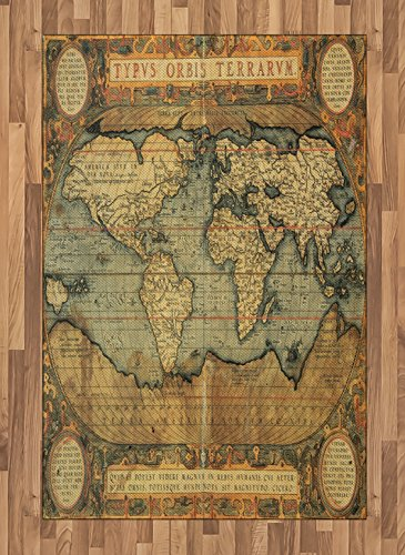 Lunarable Wanderlust Area Rug, 16th Century Map of The World History Adventure Civilization, Flat Woven Accent Rug for Living Room Bedroom Dining Room, 4 X 5.7 FT, Orange Sand Brown Army Green