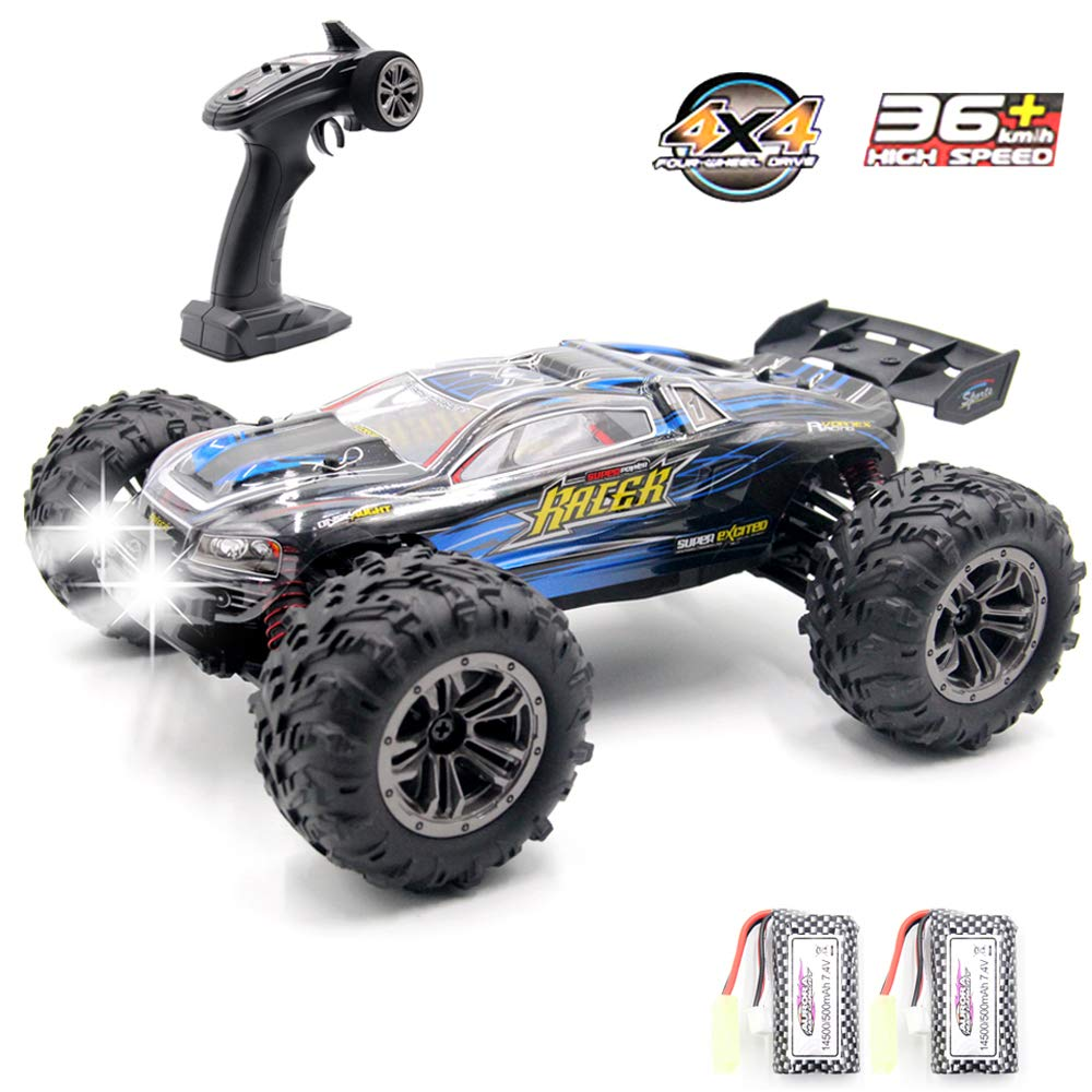 GMAXT Rc Cars,9136 Remote Control Car,1/16 Scale 36km/h,2.4Ghz 4WD High Speed Off-Road Vehicles with Car Light and 2 Rechargeable Batteries,Give The Child Best Choice