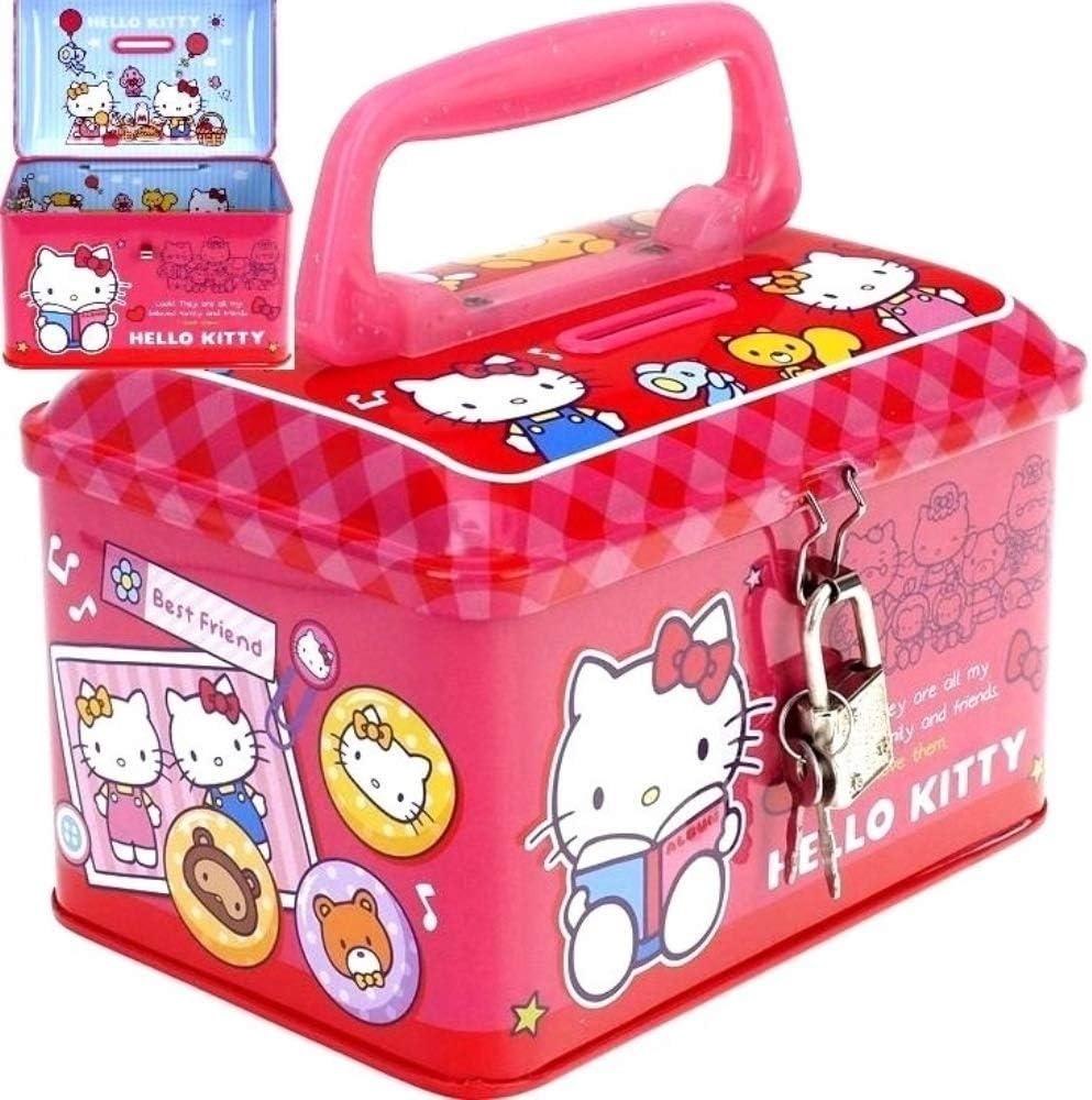 Hello Kitty Metal Money Bank Box Piggy Bank Storage Box With Lock Pink//Red