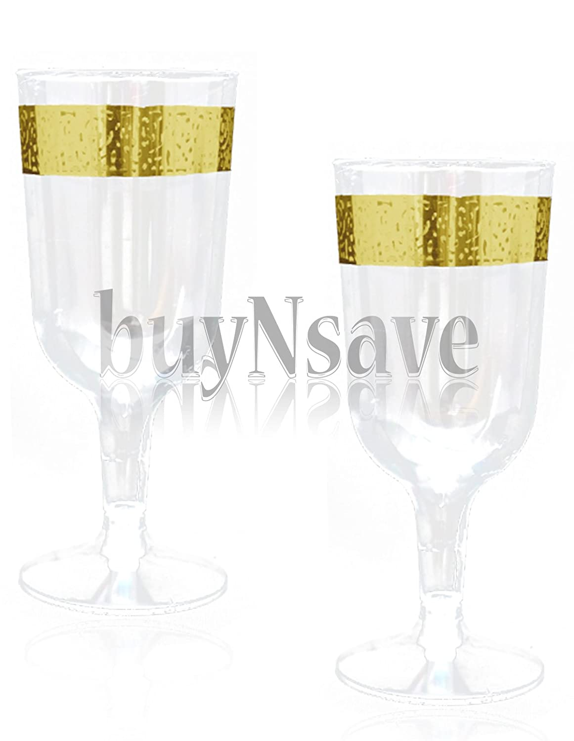 buyNsave Clear with Gold Heavyweight Plastic Elegant Wine Cups, Wedding Party Elegant Wine Goblets, Inspiration Collection (40, 5oz. Wine Goblets)