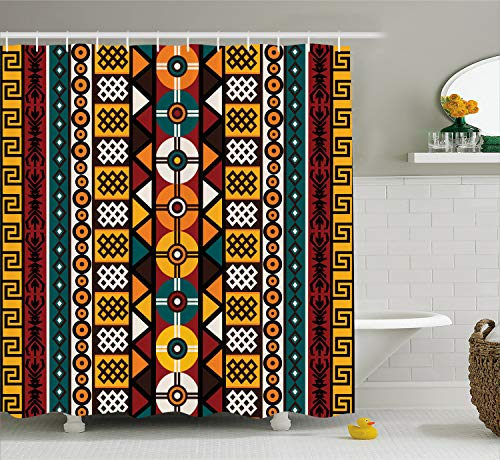 - Ambesonne Kente Pattern Shower Curtain, Vertical Borders Inspired by Timeless Cultures Geometrical Design, Cloth Fabric Bathroom Decor Set with Hooks, 84