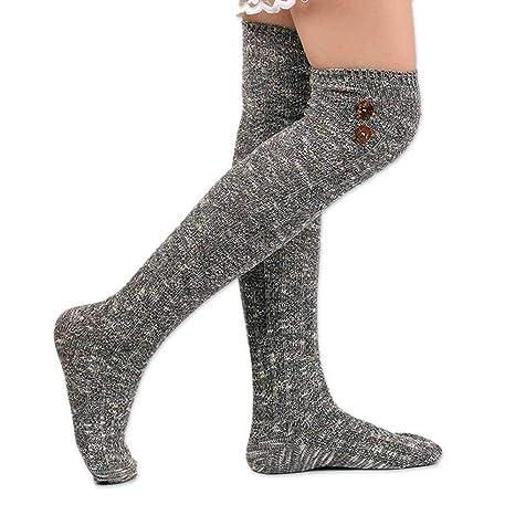 FOONEE Calcetines para Botas Mujer, cálidos Botones de Invierno, Calcetines para Botas Largos,