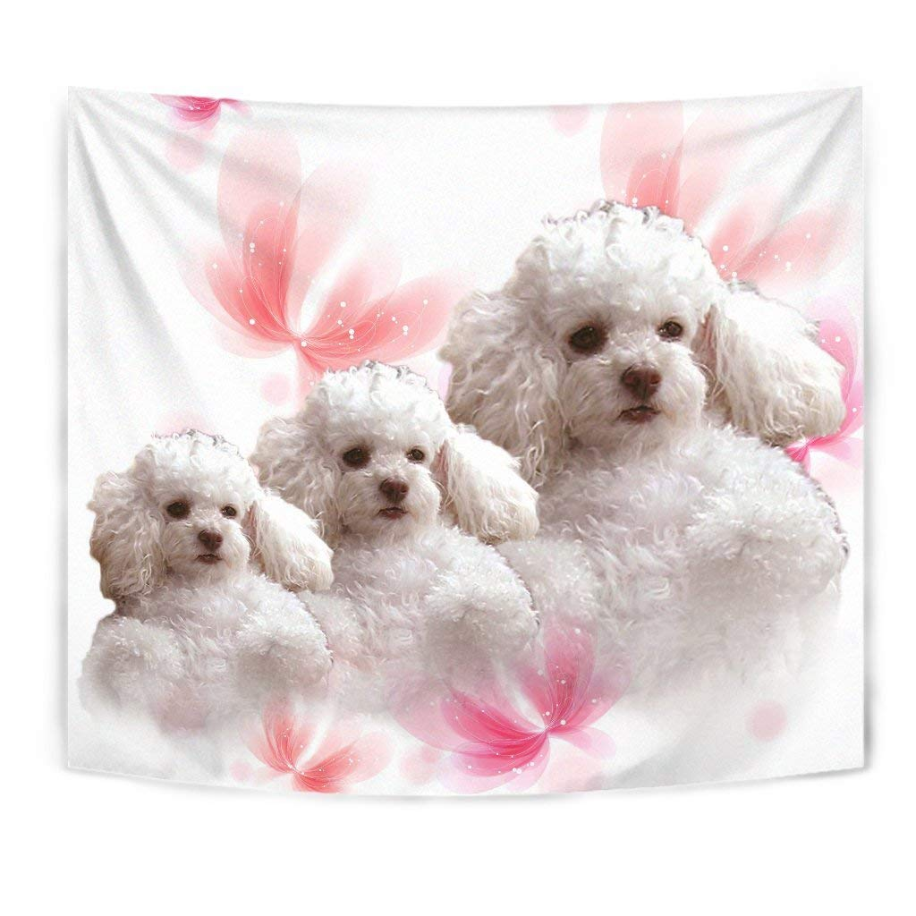 Cute Poodle On Soft Pink Print Tapestry by Paws With Attitude