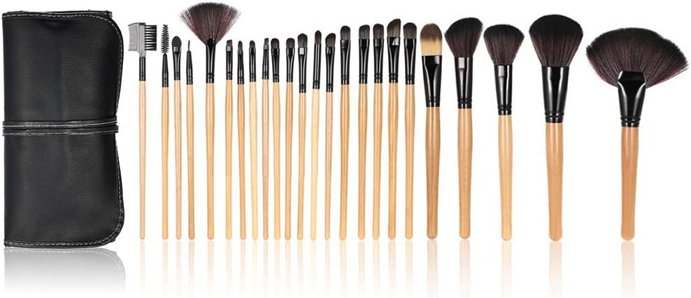 Anself - Set de brochas profesionales para maquillaje kit 24 piezas + bolsa, color negro