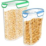 quart jar with vacuum lid - Vremi Plastic Cereal Containers Storage Set with Lids - 2 Pack BPA Free 3L and 5 Liter Dry Food Container Set with Pour Spout and Airtight Silicone Seal Holds 12 or 21 Cups of Snacks Pasta or Pet Food