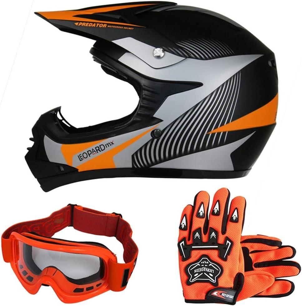 Guanti per Bambini Cross e off-Road Motocicletta ATV Quadrilatero ECE 22-05 Approvato Leopard Leo-X Casco da Motocross Occhiali da Moto