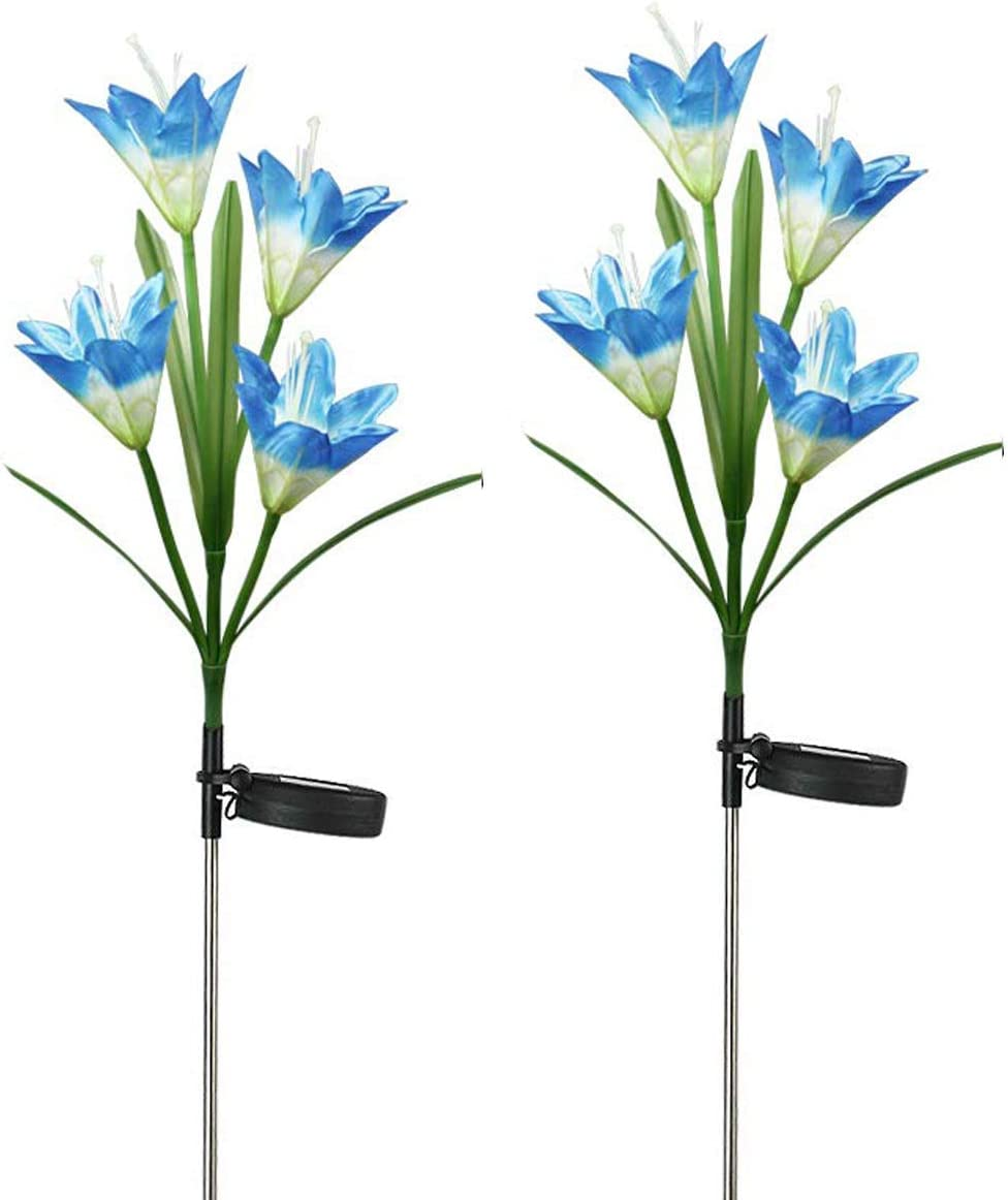 Solar Flower Stake Lights Outdoor,WONFAST 2 Pack Multicolor Changing LED Solar Lily Flowers Landscape Night Lighting Light for Wedding Party Path Walkway Lawn Garden Pond Decoraions Blue
