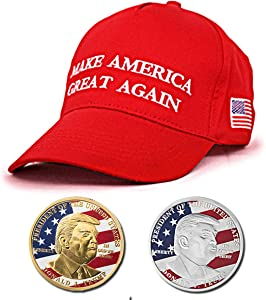 JETTINGBUY 3-Pack 2018 USA President Donald Trump Pack, 1Pc Trump Sport Hat + 2Pcs Official Authentic 24k Gold-Plated Donald Trump Commemorative Coins in Gold and Silver