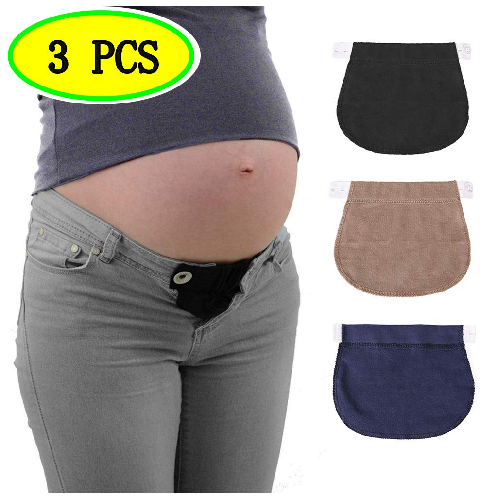 BIEE 3pcs Elastic Waist Extender, Pregnancy Belt Extender, Women Button Extender (Black, Navy Blue and Khaki)