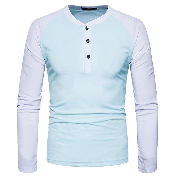 Zhiyuanan Hombres Camiseta Polo De Manga Larga Chic Contraste De ...