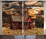 Ambesonne Scenery Decor Curtains, Scary Horror Movie Themed Abandoned House in Pale Grass Garden Sunset Photo, Living Room Bedroom Window Drapes 2 Panel Set, 108 W X 84 L inches, Multicolor