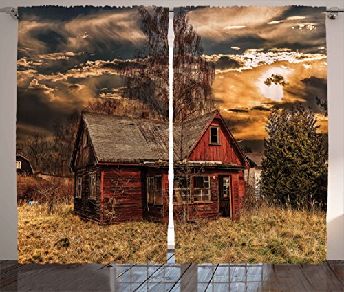 Ambesonne Scenery Decor Curtains, Scary Horror Movie Themed Abandoned House in Pale Grass Garden Sunset Photo, Living Room Bedroom Window Drapes 2 Panel Set, 108 W X 84 L inches, Multicolor by Ambesonne