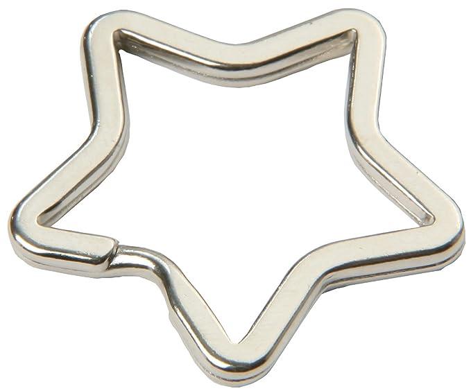 glanzvernickelt und geh/ärtet 20 St/ück gemischt Schl/üsselringe in Stern- und Herzform silberfarben