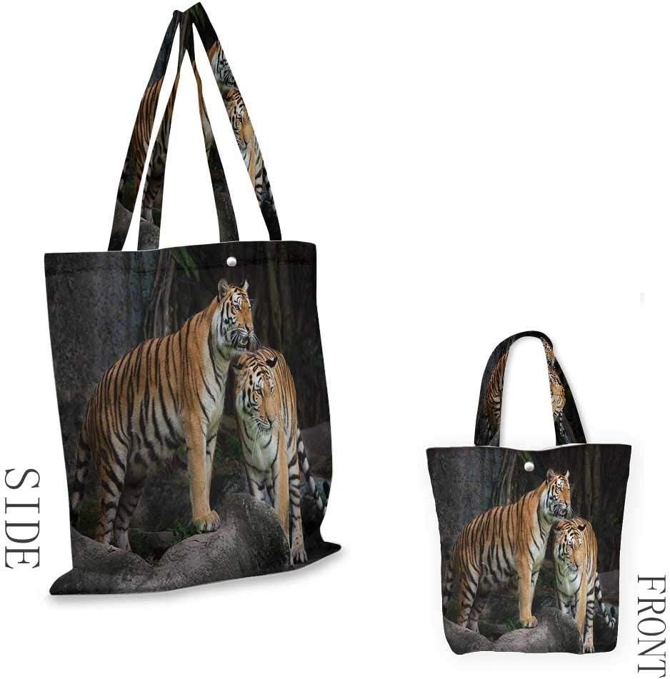 Bolsa de la compra portátil AnimalTiger pareja en la jungla en las grandes rocas imagen Wild Cats in Nature imagen conveniente; ahorra espacio 15.75 x 17.71 pulgadas gris y jengibre