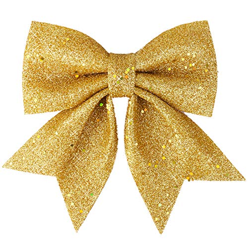 (Vesil Large Gold Glitter Bow Christmas Ties Ribbon Bows Ornaments, 10