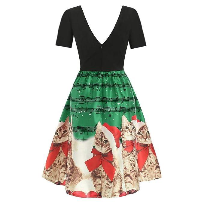 SMILEQ Vestido Elegante de Navidad Vestido de Bola Falda Mujer ...