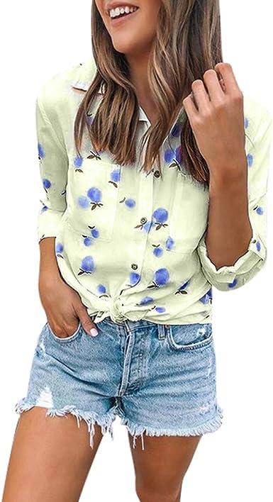 beautyjourney Camisa de Manga Larga Slim fit para Mujer Camiseta con Estampado de Frutas Camisa Casual con Bolsillos y Botones Top de Camisa de Playa Suelta: Amazon.es: Ropa y accesorios