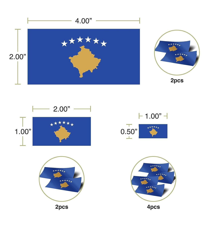 Desert Cactus Kosovo Country Flag Sticker Decal Variety Size Pack 8 Total Pieces Kids Logo Scrapbook Car Vinyl Window Bumper Laptop V