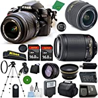 Nikon D3200 International Version - No Warranty, 18-55mm f/3.5-5.6 DX VR, Nikon 55-200mm f4-5.6G VR Nikkor, 2pcs 16GB ZeeTech Memory, Case, Wide Angle, Telephoto, Flash