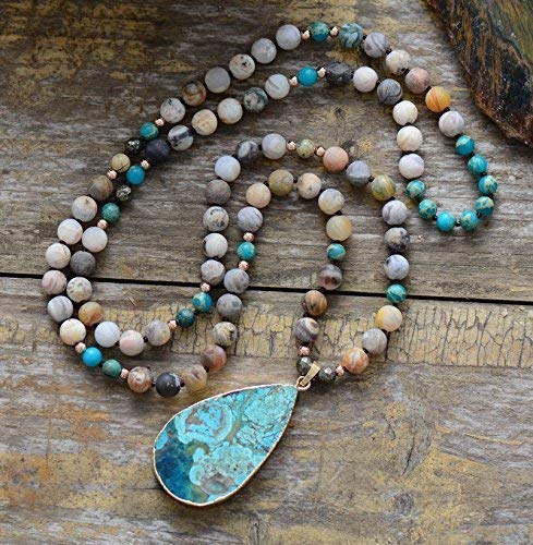 Huge Turquoise Jasper Teardrop Pendant in Natural Stones Beaded Necklace | Natural Amazonite Necklace | Turquoise Mala Necklace | Matte Beaded Stone Necklace | Holiday Favorites