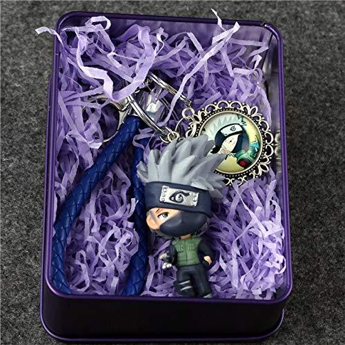 - VIETCJ Anime Kakashi Sakura Sasuke Keychain Figure Collection Model Toys Key Chain Toys with Metal Box- Legends Gifts Movies Comic Toys Collection