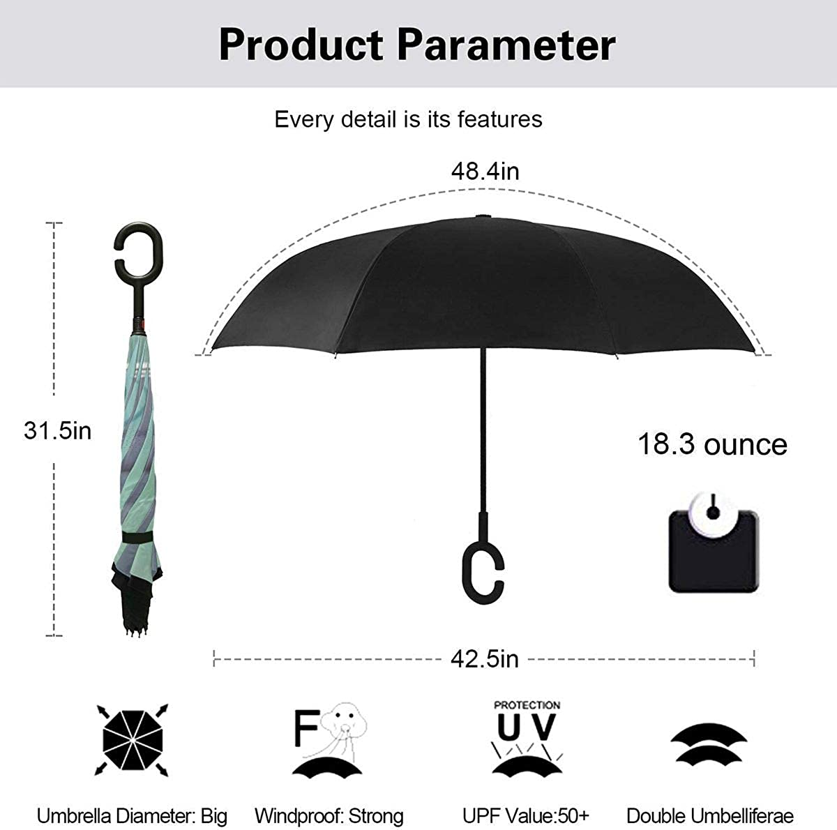 Reverse Umbrella Double Layer Inverted Umbrellas For Car Rain Outdoor With C-Shaped Handle Animal Cat Kitten Miss You Customized