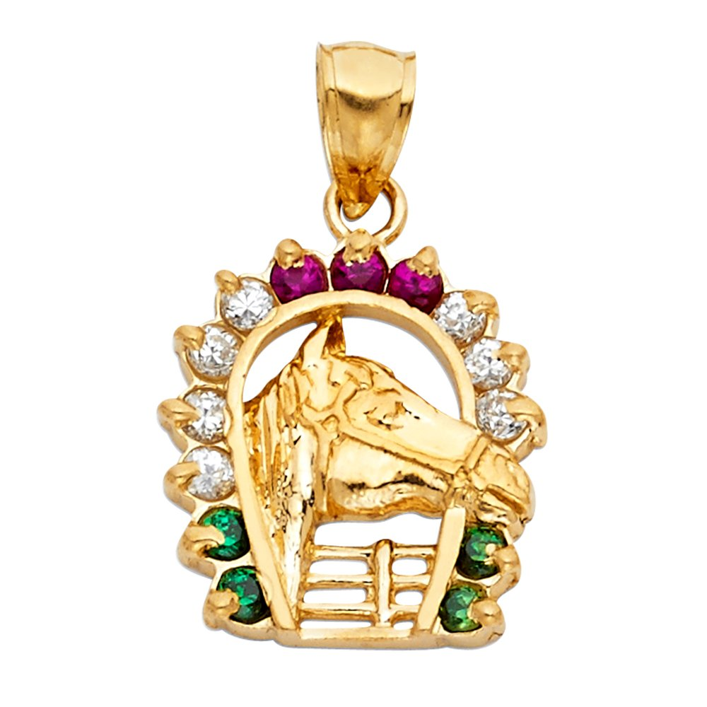 19mm x 17mm Million Charms 14k Yellow Gold with White CZ Accented Lucky Horseshoe Charm Pendant