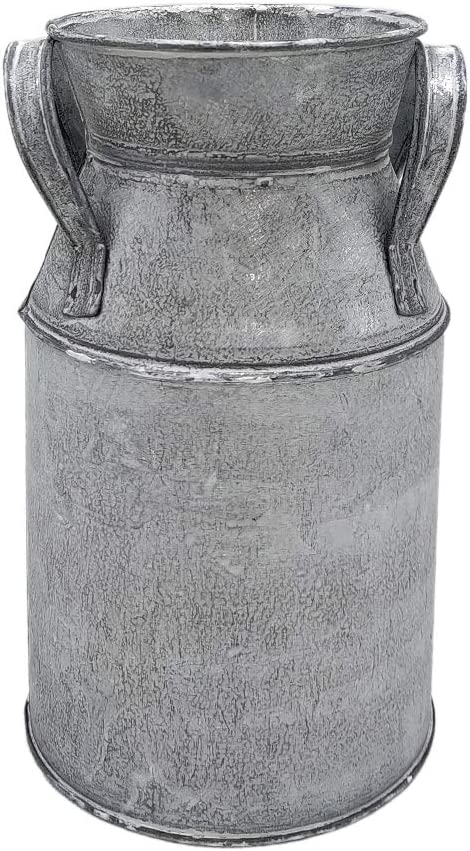 "WHHOME Shabby Chic Classy Designed Silver Milk Can Galvanized Finish Metal Vase Country Rustic Primitive Decorative Flower Holder, 7.1"" H"