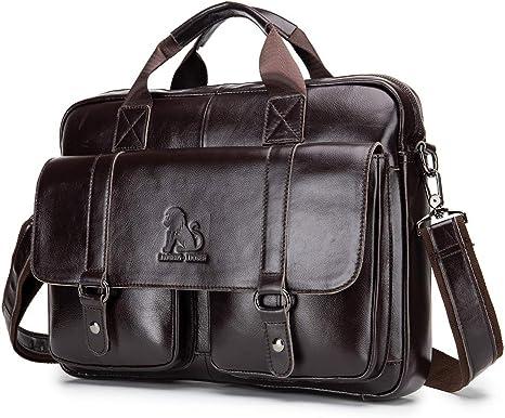"""15/"""" Mens Brown messenger leather bag satchel crossbody laptop bag briefcase"""