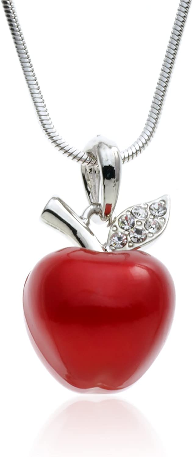 PammyJ Candy Red Apple Silvertone Pendant Necklace, 17.5""