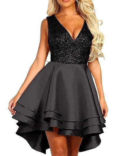 5c4f8fdd21b6 made2envy Deep V Neck Gold Sequin Multi Layer Skater Mini Dress at Amazon  Women's Clothing store: