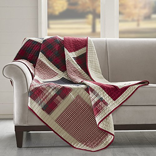 Checked Blanket (1 Piece Off White Red Lumberjack Throw Lightweight, Cabin Themed Blanket Sofa Couch Lodge Tartan Black Checkered Checked Pattern Cottage Hunting, Reverse Solid Color Cotton)