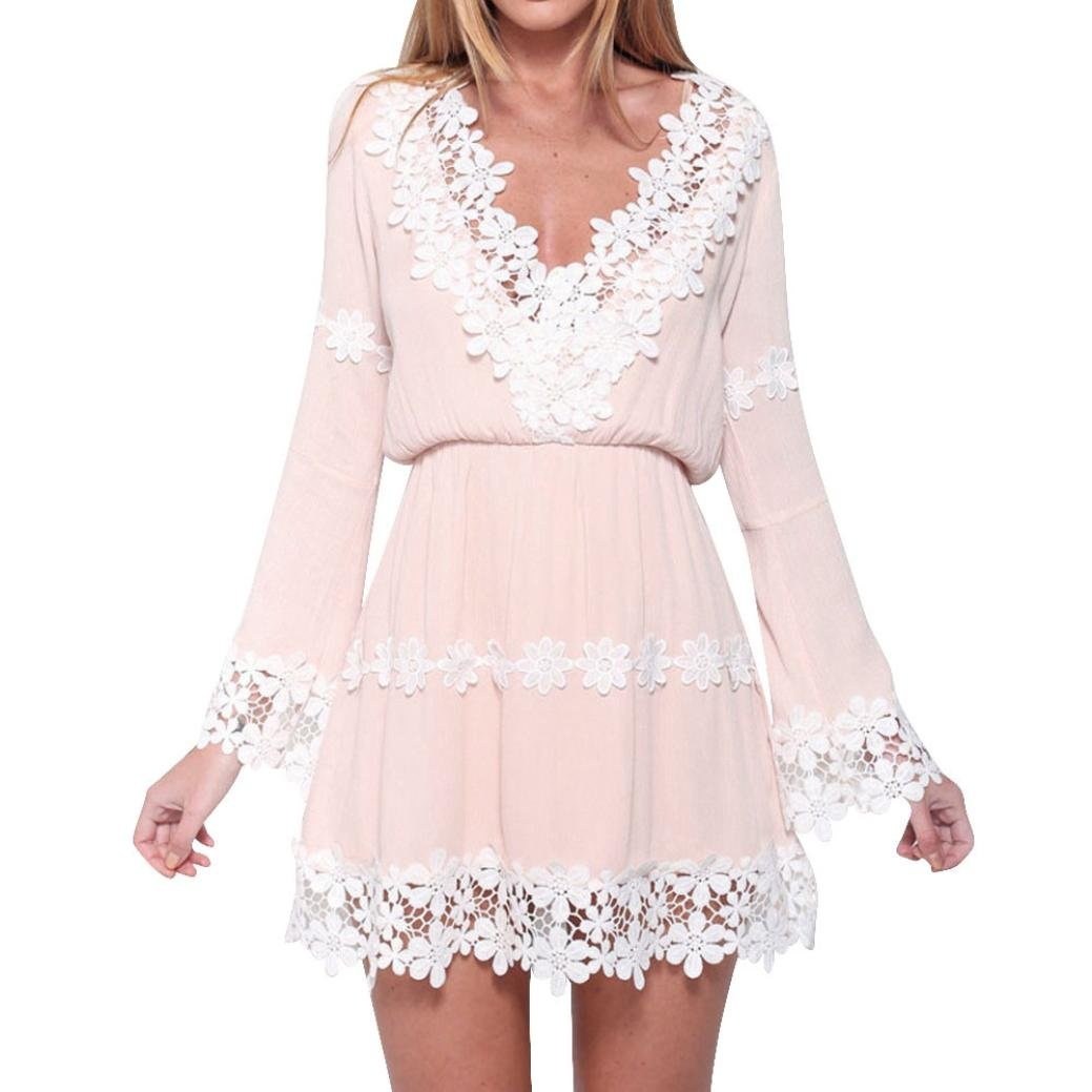 Sunmoot Womens V Neck Plunge Skater Dress Sexy Lace Mini