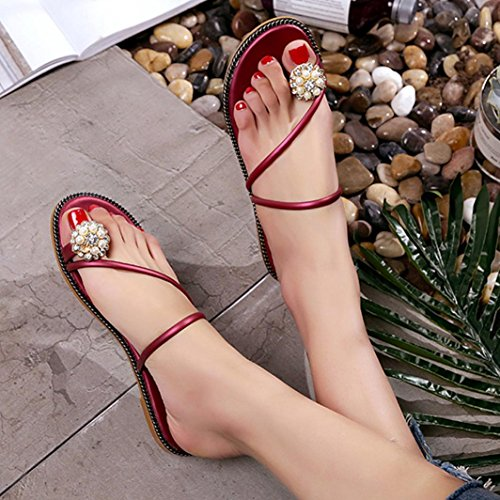 Jamicy Women Girls Fashion Summer Rhinestone Shoes Peep-toe Low Shoes Roman Sandals Ladies Flip Flop Flats Shoes Red gJuxXALmuU