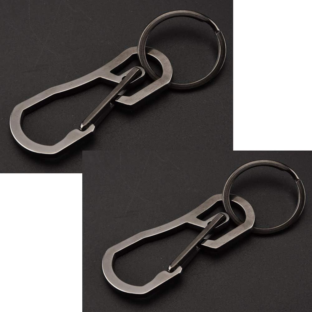ALsmiley Carabiner Clip Retractable Ring Set Titanium Keychain Quick Release Hooks for Men Women