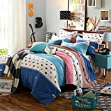 Bedding Duvet Cover Sets Cotton Home Collection Decor For Adult Children Kids Boys Girls Teen Dorm 4Pcs Quilt Cover×1,Flat Sheet×1,Pillowcases×2 Wedding Thanksgiving Christmas Birthday Gift,For Kids Twin 150*200cm