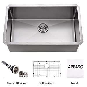 APPASO 32-Inch Silent PRO Single Bowl Kitchen Sink Undermount, 16-Gauge Stainless Steel 10-Inch Deep Commercial Handmade Large Drop-in Kitchen Sink, HS3219