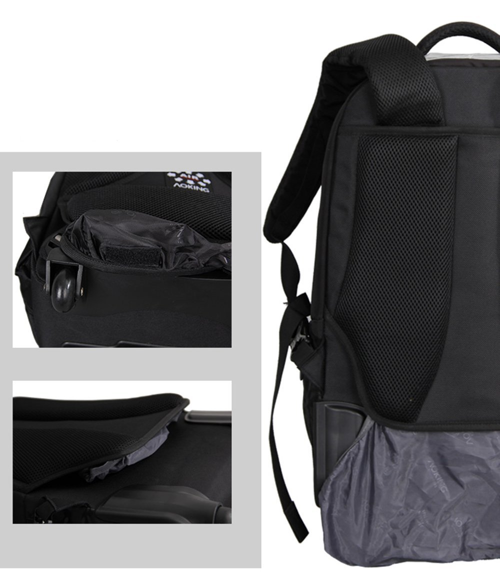 158520ae9e AOKING 50L Water Resistant Travel School Business Rolling Wheeled Backpack  with 15