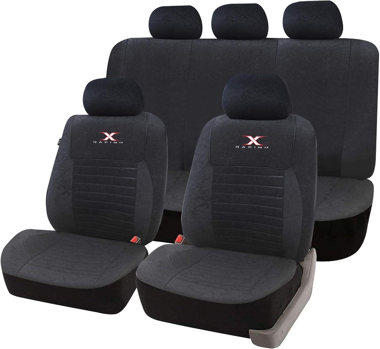 Negro-gris fundas para asientos para Renault Clio asiento del coche referencia completamente