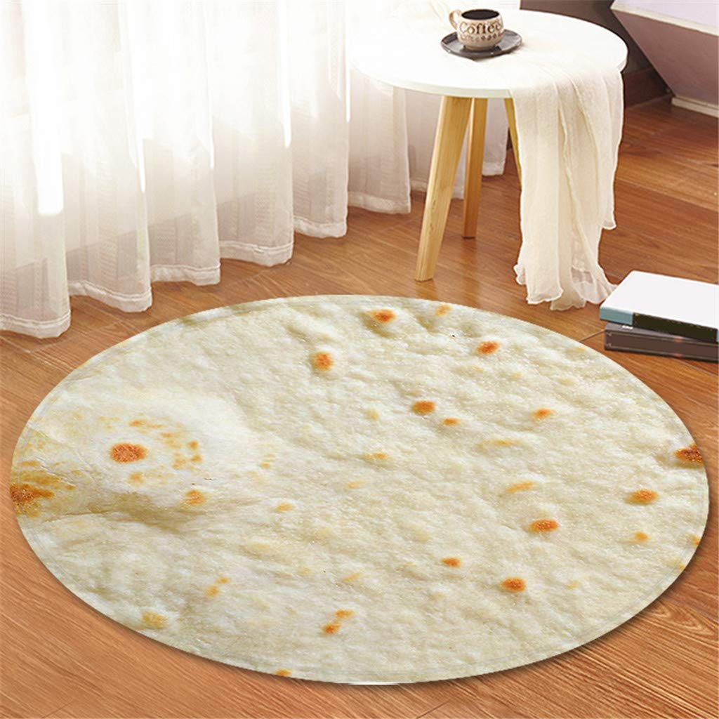 Comfort Food Creations Burrito Wrap Novelty Blanket - Perfectly Round Bathroom Tortilla Carpet 120cm (B) by Sunshinehomely (Image #3)