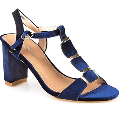 Bellissimo T-Bar and Block Heel Sandal 310 818 - Navy Size 12 (45 ...