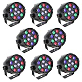 8PCS Lixada DMX-512 LED PAR Light 12LED RGBW 15W Sound Activated Stage Lighting Strobe Professional 8 Channel DJ Party Disco Show