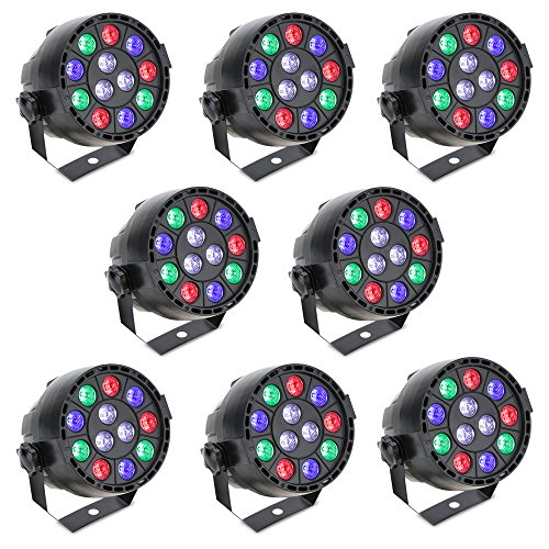 8PCS Lixada DMX-512 LED PAR Light 12LED RGBW 15W Sound Activated Stage Lighting Strobe Professional 8 Channel DJ Party Disco Show by Lixada