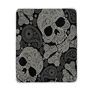 ALAZA Home Decor Vintage Paisley Flower Sugar Skull Blanket Soft Warm Blankets for Bed Couch Sofa Lightweight Travelling Camping 60 x 50 Inch Throw Size for Kids Boys Women