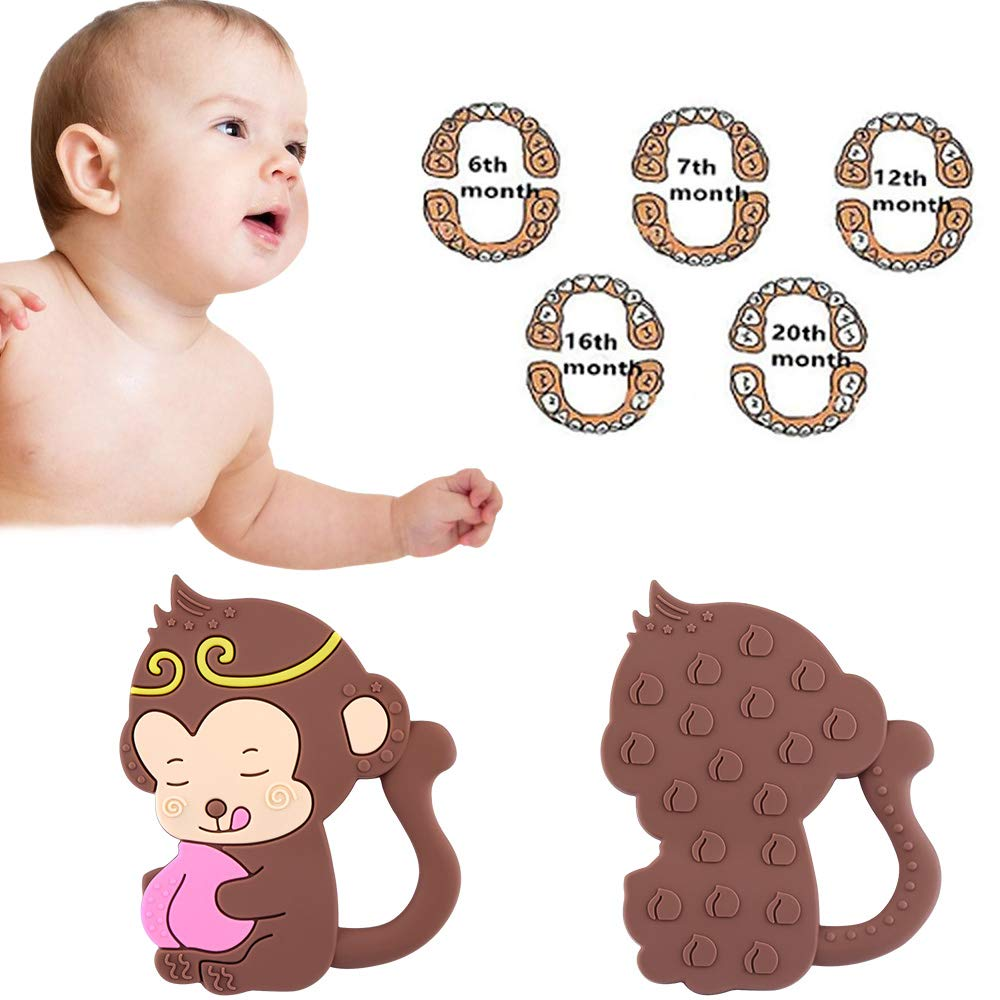 Tinabless Bendable /& Freezer Friendly Monkey Teethers Soft Silicone Natural Organic Infant Toys BPA-Free Baby Teething Toy