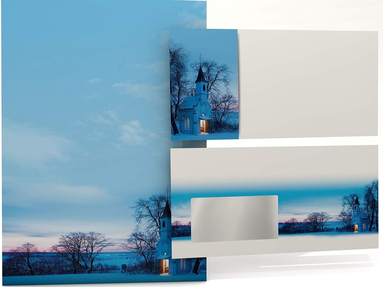 50 Blatt Motivpapier A4 und 50 Umschl/äge mit Fenster Weihnachts-Briefpapier Set Kapelle im Abendrot