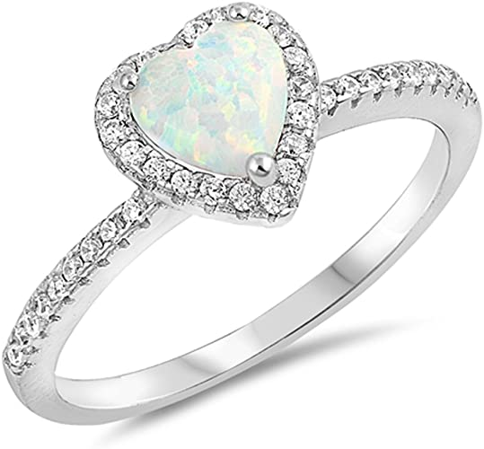 White Lab Opal Heart Promise Ring New .925 Sterling Silver Love Band Sizes 3-12