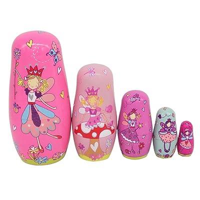 Ultnice Muñecas rusas, matrioskas de madera, dibujos de ángel, juguete que se apila, 6 unidades: Hogar