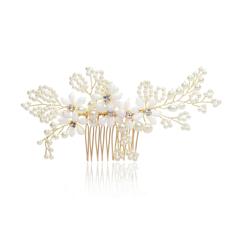 SWEETV Bridal Hair Comb Pearl - Beaded Bridal Headpieces - Handmade Women Hair Decoration Ivory & Light Gold
